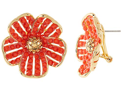 Kate Spade New York Glistening Petals Flower Statement Studs Earrings Coral One Size