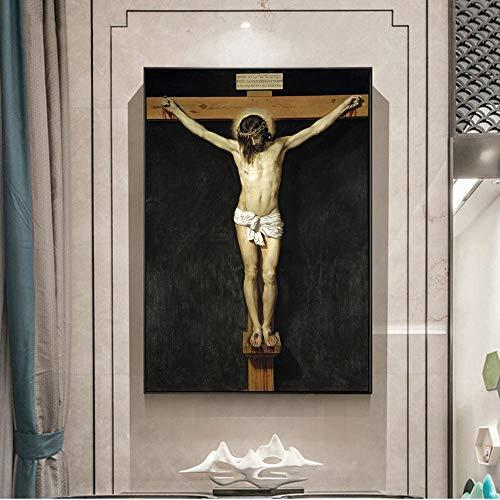 SADHAF gedruckt am Kreuz auf dem berühmten Christus Jesus Wandbild Replik Wohnkultur A6 70x100cm
