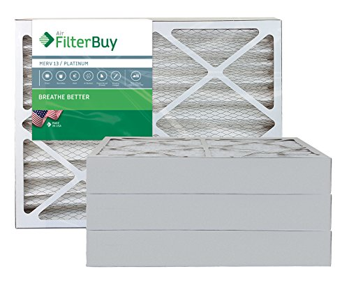 """FilterBuy 20x25x4 MERV 13 Pleated AC Furnace Air Filter, (Pack of 4 Filters), Actual size 19 3/8"""" x 24 3/8"""" x 3 5/8"""", 20x25x4 – Platinum"""