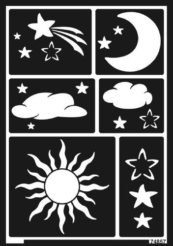Kreul 74857 - Window Style Schablone Sonne, Mond und Sterne A5