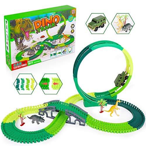 SHANNA Rennstrecken Spielzeug, Dinosaurier Spielzeug Flexibel Lntelligenz Anregen Bahn Spiel Set Dinosaurier Cars Rennbahn Kinder Auto Rennstrecken Dinosaurier (Verfolgen Sie Spielzeug A)