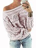 yoins donna maglione floreale felpa spalle scoperte pullover manica lunga maglioni maniche a pipistrello tops casuale rosa-nuovo l