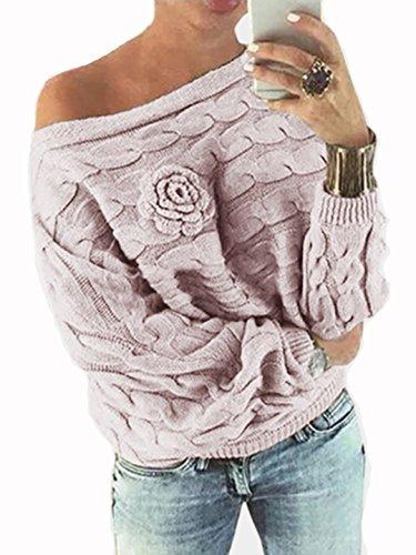YOINS Schulterfrei Oberteile Damen Herbst Winter Off Shoulder Pullover Pulli für Damen Loose Fit mit Blumenmuster Aktualisierung-rosa S
