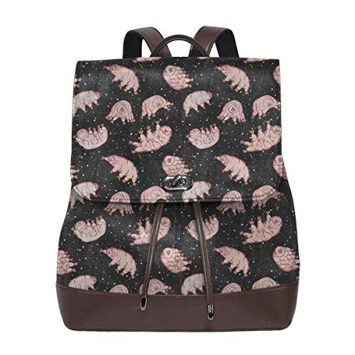 Flyup Women Backpack Purse Tardigrades In Space Black Waterproof PU Leather Anti-theft Schoolbag Lightweight Rucksack Mochila de cuero para mujer