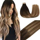 GOO GOO 50g 20pcs Human Hair Extensions Tape in Dark Brown to Light Brown and Ash Blonde Balayage Hair Extensions Tape in Natural Hair Straight 20pcs