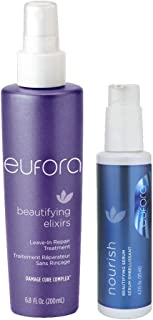 Eufora Beautifying Elixirs Leave-in Repair Treatment 6.8 Oz & Eufora Beautifying Serum for Hair Skin and Scalp 4.2 Oz With Beautify Comb