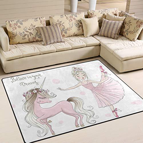 Mnsruu Schöner Einhorn-Teppich mit Ballerina-Zitaten für Wohnzimmer, Schlafzimmer, 160 cm x 122 cm