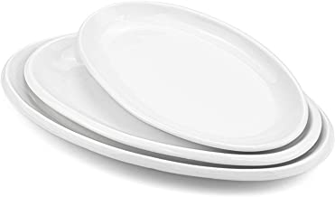 Foraineam Set of 3 Sizes Porcelain Oval Serving Platters White Dinner Plates Serving Dishes for Party, Dessert, Sushi, Fish
