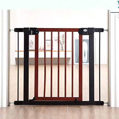Anonca Auto Close Safety Baby Gate Pressure Mounted Swing Baby Gate Easy Walk-Thru Child Gate The House Stairs Doorways& Hallways 29.9 Inch Wide Easy to Roll Best Dog Gate,Brown