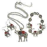 Grenf Fashion Ethnic Style Metal Jewelry Sets Turquoise Mosaic Elephant Longevity Turtle Pendant Chain Necklace Dangle Earrings Cuff Bracelet Set 3 Colors (Red-Elephant)