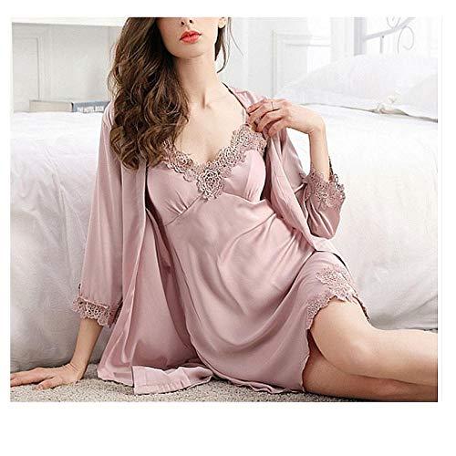 Zijden pyjama, dames zomer sexy kanten jarretel nachthemd, tweedelige lange sectie, luxe kan ijs zijden nachtjapon dragen