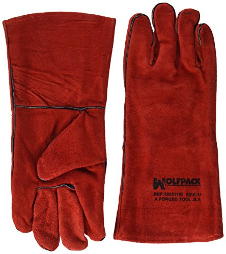 WOLFPACK LINEA PROFESIONAL Guantes Soldar Denso Rojo Largo