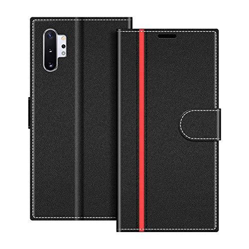 COODIO Handyhülle für Samsung Galaxy Note 10+ Handy Hülle, Samsung Galaxy Note 10 Plus Hülle Leder Handytasche für Samsung Galaxy Note 10 Plus Klapphülle Tasche, Schwarz/Rot