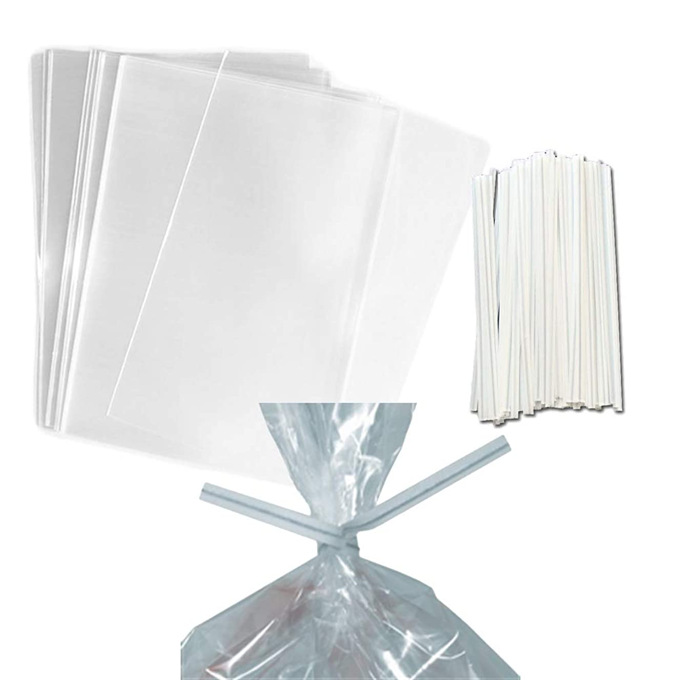 100 Clear Treat & Favor Bags | Ties Included | Great For Cake Pops, Candy, Gifts, Wedding or Party Favors | Food Safe Plastic | Stronger Than Cellophane | 1.5 Mils Thickness | 5.75