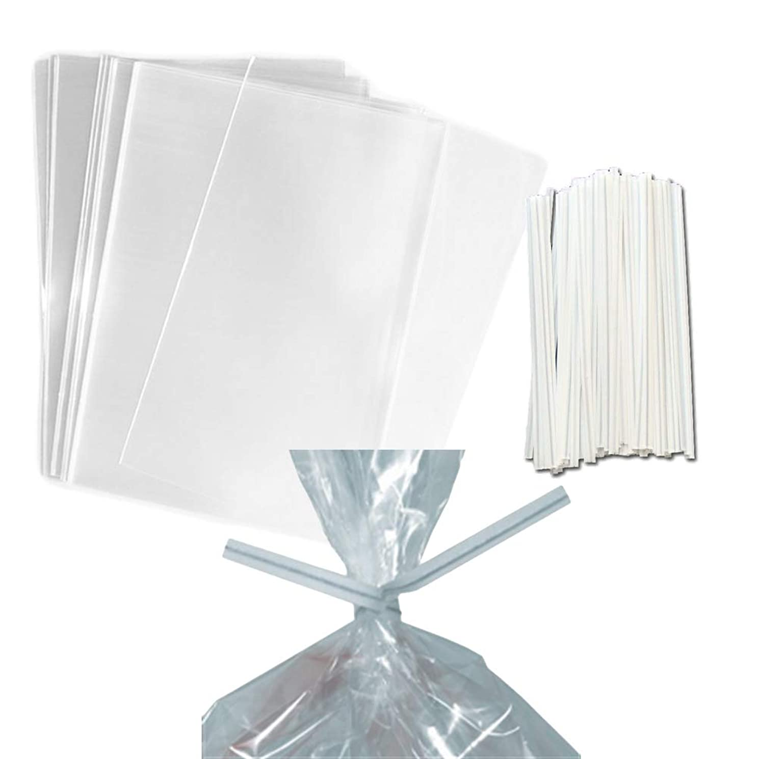 100 Clear Treat & Favor Bags   Ties Included   Great For Cake Pops, Candy, Gifts, Wedding or Party Favors   Food Safe Plastic   Stronger Than Cellophane   1.5 Mils Thickness   5.75
