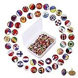 Decorativo Chinchetas 100 Piezas Tachuelas de Bandera Nacional Pines de Empuje de Mapa de País para Tablón de Anuncios Mapa y Oficina