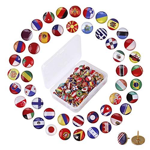 Reißzwecken Pins 100 Stück Nationale Flagge Reißnagel Land Karte Reißnägel Kreative Push Pins für Bulletin Board, Karte, Büro