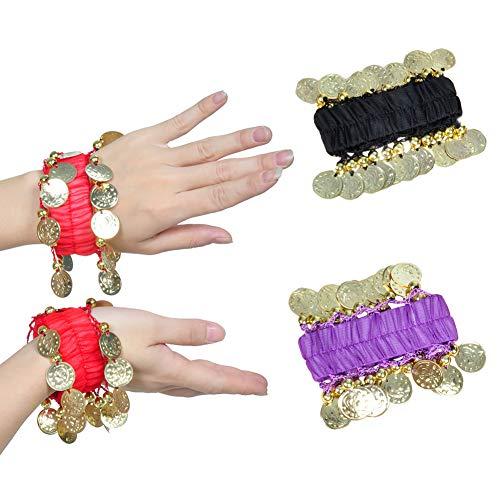 JIHUOO 3 Paar Bauchtanz Armband Armbänder Handschmuck Belly Dance Handkette mit goldfarbenen Münzen
