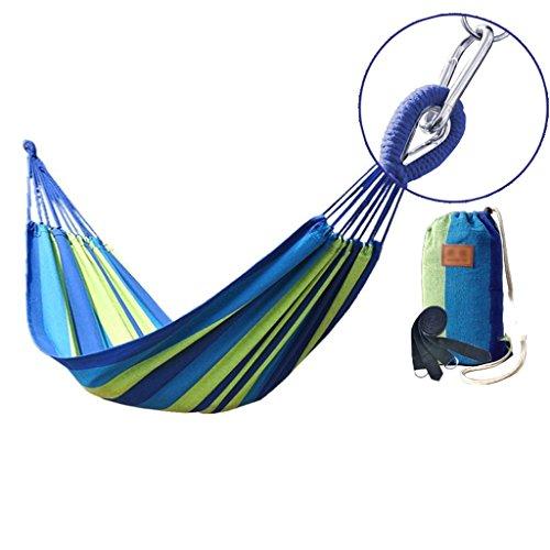 MMWYC Portable Garden Hammock,blue Stripes Canvas Hammock Camping Travel Swing - Single Person (Size : 200x100cm)