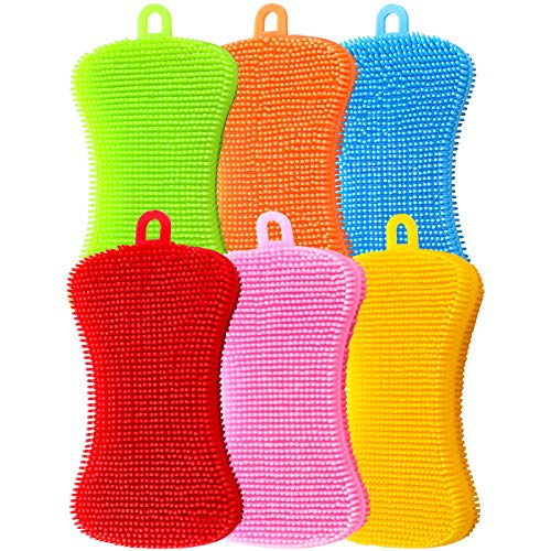 6 Pieces Silicone Sponge Dish Washing Scrubber Household Cleaning Sponge Kitchen Gadgets Brush Accessories for Dishes(Green, Blue, Pink, Yellow, Red, Orange)