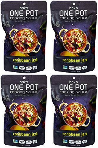 Hak's - One Pot Cooking Sauce - 4-Pack - 7 Oz. - Four All-Natural Flavors - Recipes Created By MasterChef Contestant - Critic Approved - Gluten-Free and Non-GMO - Natural Ingredients- Caribbean Jerk