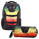 """BESTLIFE Mochila y estuche en un set """"MERX"""" mochila escolar, para el tiempo libre con compartimento para el portátil hasta 15,6 pulgadas (39,6 cm), negro/amarillo"""