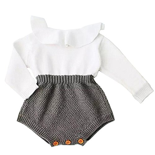 Collager Baby Girls Romper Knitted Ruffle Long Sleeve Jumpsuit Baby Kids Girl Romper Autumn Winter Casual Clothing Gray