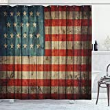 Ambesonne USA Shower Curtain, Fourth of July Independence Day Painted Old Wooden Rustic Background Patriot, Cloth Fabric Bathroom Decor Set with Hooks, 70' Long, Blue Red