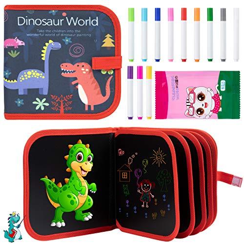Diealles Shine Tabla de Dibujo Portátil para Niños, Tabla de Dibujo Portátil Graffiti para Educación Preescolar Niños con 12 Plumas de Colores 14 Página, Reutilizable (Dinosaurio)