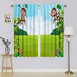 Cortinas opacas para ventana, lindos monos juguetones colgando en viñedos, chimpancés, verano, divertido, diseño colorido, par para cortinas de ventana de guardería de 76 x 45 pulgadas, ancho