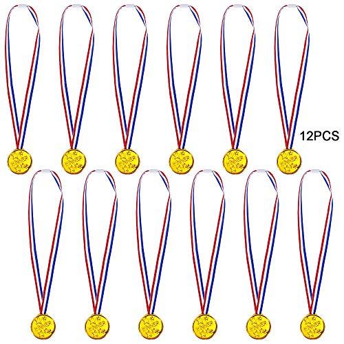 Goldge 12 x Gewinner Medaillen Gold Kunststoff für Party Sportstag Spielzeug preisen Awards