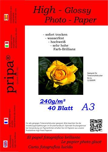 pripa - A3-40 Blatt Fotopapier Photopapier DIN - A 3-240g/qm - glossy glaenzend - sofort trocken - wasserfest - hochweiß - sehr hohe Farbbrillianz fuer InkJet Drucker Tintenstrahldrucker