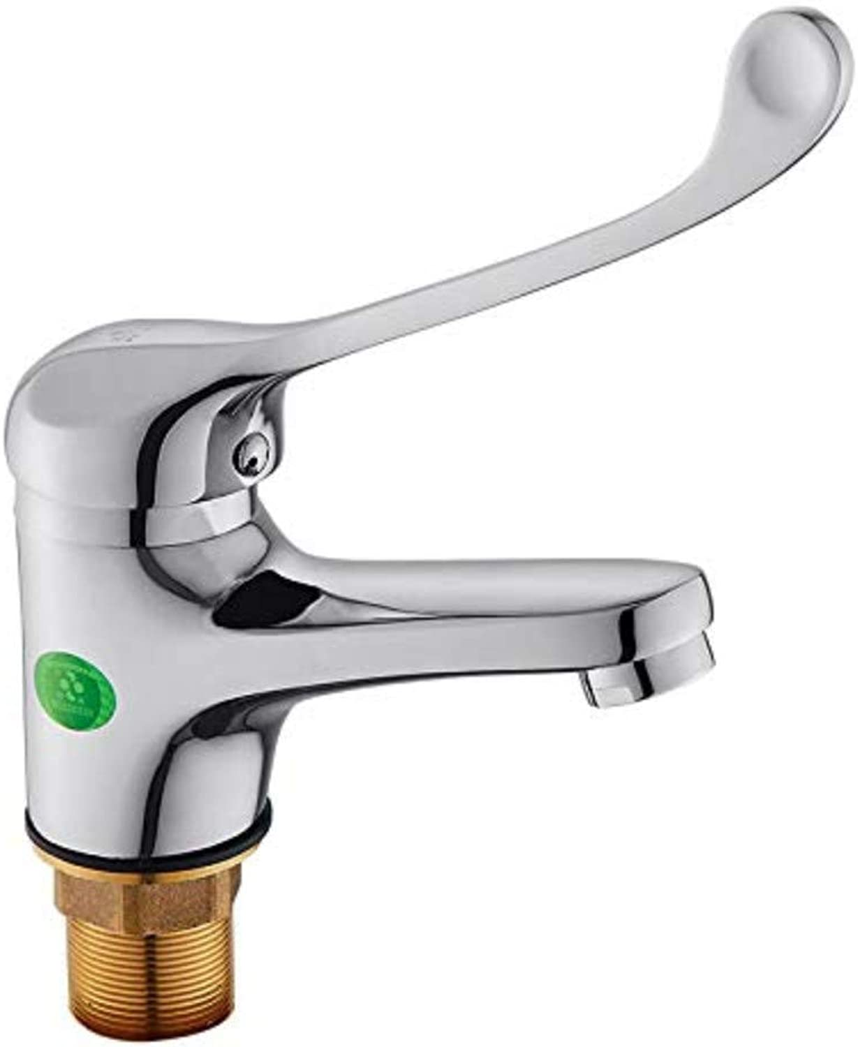 Chrome-Plated Brass Bathroom Toilet Faucet Long Handle Single Hole Hot and Cold Water Faucet Wash Basin Faucet