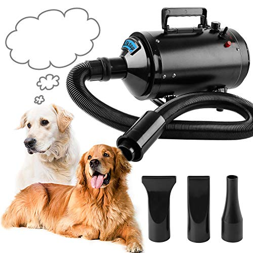 Soffiatore Per Cani Pet Dryer Grooming Cane Animali Domestici Capelli Pet Dog Cat Grooming Asciugacapelli Soffiatore Aria Calda Per Cani (2600W Nero)
