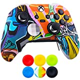 9CDeer 1 x Protective Customize Transfer Print Silicone Cover Skin Cartoon Paints + 6 Thumb Grips Analog Caps for [Xbox One Elite] Controller Compatible with Official Stereo Headset Adapter