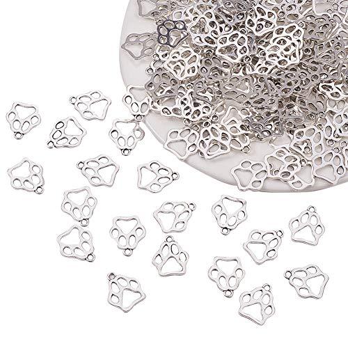 PandaHall Elite 150pcs Charms pendanti ciondoli di Zampa di Cane in Lega Stile Tibetano per Braccialetti collane Orecchini bigiotteria Fai da Te, Argento Antico, 19.6x17x1.5mm, Foro: 2mm