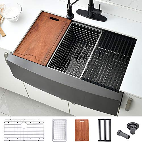 Black Kitchen Cabinets With Stainless Steel Farmers Sink