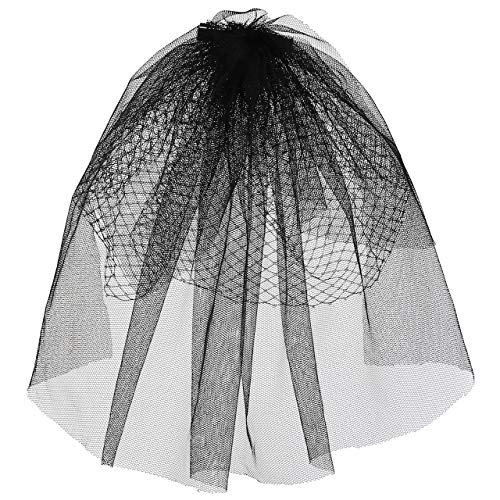 Ayliss Women Mesh Veils Bridal Birdcage Veil Short Wedding Face Veil with Clip (Black)