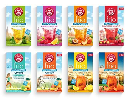 Teekanne frio 8er Pack - mit allen neuen Sorten - Eistee Pfirsich und Zitrone, Rhabarber-Kirsche, Sport Mango-Orange (8 x 45g)