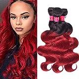 Ombre Virgin Brazilian Hair Weave Red Ombre Brazilian Body Wave Human Hair Weft 3 Bundles 1B/Burgundy 2 Tone Human Hair Extension Virgin Human Hair Weave 1B/Burgundy 14'16'18'