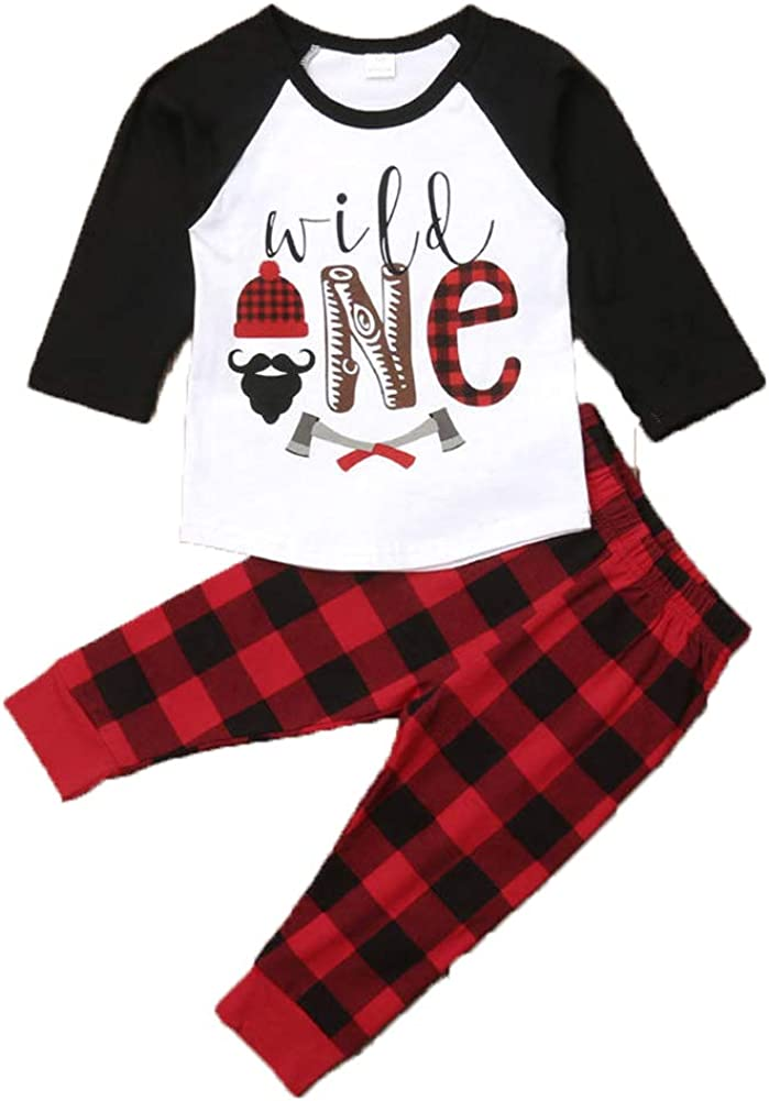 Baby Boys 1st Birthday Outfits Long Sleeve Lumberjack T-Shirt Top with Buffalo Plaid Pant+Hat