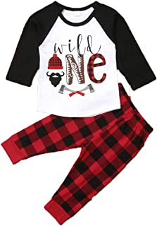 Babys First Birthday Outfits Long Sleeve T-Shirt Top with Buffalo Plaid Pant