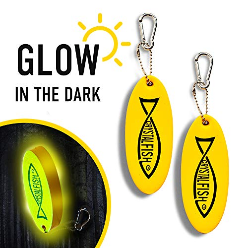 CRYSTAL FISH Floating Keychain Foam Yellow Floatable Key Chain – Lightweight Practical Key Chains for Boats – Fluorescent Boat Key Ring for Sailing, Surfing, Fishing and Diving – Sports Keychain