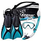 Seavenger Advanced Snorkeling Set with Panoramic Mask, Trek Fins, Dry Top Snorkel & Gear Bag (Clear...