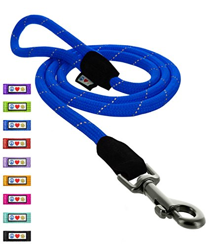 Pawtitas Training Dog Leash 6ft Extremely Durable Rope Leash for Dogs Premium Quality Heavy Duty Rope Lead Strong and Comfortable - Extra Small/Small - Blue