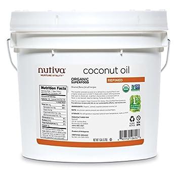 Nutiva Organic Steam Refined Coconut Oil from non-GMO Sustainably Farmed Coconuts 128 Fl Oz  Pack of 1