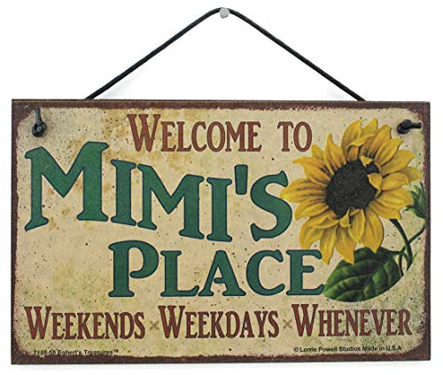Egbert's Treasures 5x8 Vintage Style Sign with Sunflower Saying, Welcome to Mimi's Place Weekends, Weekdays, Whenever Decorative Fun Universal Household Family Signs for Grandma (5x8)