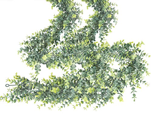 2 Pcs Artificial Eucalipto Guirnalda Planta, Artificial Plantas, Hojas de eucalipto Falsas, Decorative Vines Artificiales Boda Fondo Pared Decoración,1.7m