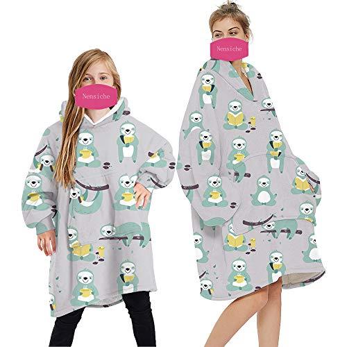Übergroße Kapuzen-Decke mit Kapuze, bequem, weich, warm, tragbare Decke für Damen, Herren, Kinder, mit Ärmeln und riesiger Tasche Gr. 7-13 Jahre, Faultier I