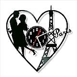 Reloj de pared con disco de vinilo de Francia, hecho a mano,